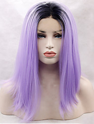 cheap -Synthetic Lace Front Wig Straight Straight Lace Front Wig Purple Synthetic Hair Women's Natural Hairline Purple