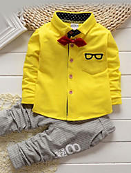 cheap -Toddler Boys' Pants Basic Shirts Daily Solid Colored Striped Print Long Sleeve Regular Cotton Clothing Set Yellow