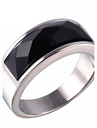 cheap -Men's Statement Ring Ring Onyx Gold Silver Agate Titanium Steel Vintage Fashion Daily Casual Jewelry