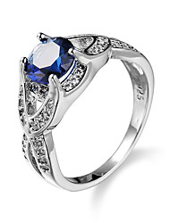 cheap -Women's Ring AAA Cubic Zirconia Blue Zircon Cubic Zirconia Alloy European Simple Style Fashion Casual Jewelry Simulated