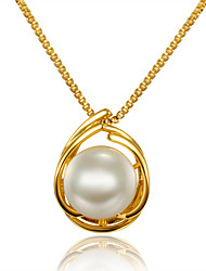 cheap -Women's Pearl Pendant Necklace Circular Unique Design Euramerican Pearl Gold Plated 18K Gold Gold Necklace Jewelry For Christmas Gifts Wedding Party Birthday Engagement Daily