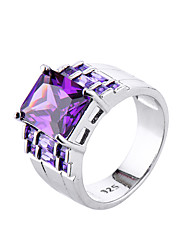 cheap -Women's Ring AAA Cubic Zirconia Amethyst Purple Zircon Cubic Zirconia Alloy Simple Style Fashion Wedding Engagement Jewelry Simulated