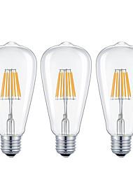 cheap -KWB 3pcs 7 W 720 lm E26 / E27 LED Filament Bulbs ST64 8 LED Beads COB Dimmable Warm White / Cold White 220-240 V / 110-130 V / 3 pcs / RoHS / CE Certified