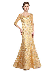 cheap -Mermaid / Trumpet V Neck Floor Length Sequined Half Sleeve Sparkle & Shine Mother of the Bride Dress with Sequin / Pleats 2020 / Illusion Sleeve