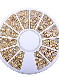 cheap -1 box ab beige color metal edge glitter nail beads studs diy beauty charm nail art pearls decorations wheel