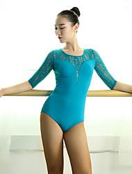 cheap -Latin Dance Leotards Women's Performance Lace / Viscose Lace / Splicing Half Sleeve Natural Leotard / Onesie