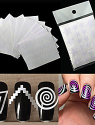 cheap -12pcs nails sticker stencil tips guide french swirls manicure nail art decals form fringe diy sencil 3d styling beauty tools