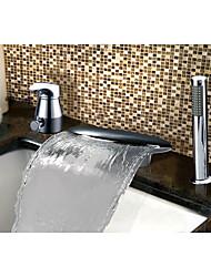 cheap -Bathtub Faucet - Contemporary / Art Deco / Retro / Country Chrome Widespread Ceramic Valve / Stainless Steel / Single Handle Three Holes