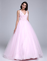 cheap -Ball Gown Formal Evening Dress V Neck Sleeveless Floor Length Tulle with Beading Flower 2020