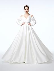 cheap -A-Line Elegant Celebrity Style Formal Evening Dress V Neck Long Sleeve Floor Length Satin with Pleats Beading 2020