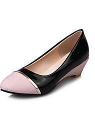 cheap -Women's Heels Wedge Heels Wedge Heel Round Toe Split Joint Linen / Patent Leather Comfort Hiking Shoes Spring / Summer / Fall Black / Pink / Gray