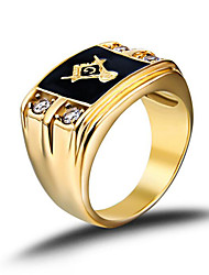 cheap -Men's Band Ring Signet Ring Masonic Rings Golden Stainless Steel Rhinestone Gold Plated Fashion Birthstones Army Christmas Gifts Wedding Jewelry freemason family crest / Imitation Diamond