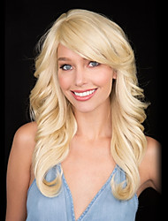 cheap -heat safe long blonde loose wave capless human hair wigs 2017