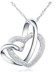 cheap -Women's Pendant Necklace Twisted Double Heart Love Interlocking Hollow Heart Ladies Alloy Silver Necklace Jewelry For Wedding Party Anniversary Birthday Thank You Daily