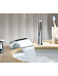 cheap -Bathroom Sink Faucet - Waterfall Chrome Widespread Single Handle Three HolesBath Taps / Stainless Steel