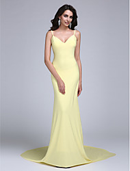 cheap -Sheath / Column Celebrity Style Prom Dress Spaghetti Strap Sleeveless Court Train Jersey with Pleats 2021
