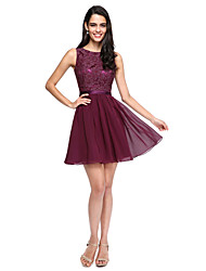 cheap -A-Line Jewel Neck Short / Mini Chiffon / Lace Bodice Bridesmaid Dress with Buttons / Sash / Ribbon