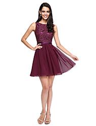 cheap -A-Line Jewel Neck Short / Mini Chiffon / Lace Bodice Bridesmaid Dress with Buttons / Sash / Ribbon
