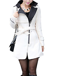 cheap -Women's Stand Collar Trench Coat Regular Solid Colored Daily Work Spring Fall Wool White / Red / Yellow S / M / L