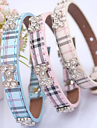 cheap -Cat Dog Collar Adjustable / Retractable Hands free Plaid / Check PU Leather Beige Blue Pink