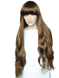 cheap -Synthetic Wig Deep Wave Deep Wave With Bangs Wig Brown Synthetic Hair Women's Brown