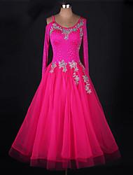 cheap -Ballroom Dance Dresses Women's Performance Chinlon / Organza Appliques / Crystals / Rhinestones Long Sleeve Dress