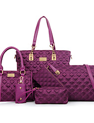 cheap -Women's Bags PU Leather / Nylon Bag Set 5 Pieces Purse Set Rivet Solid Colored Artwork for Formal / Outdoor / Office & Career Black / Purple / Fuchsia / Blue / Bag Sets