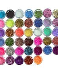 cheap -45pcs Metal Shiny Fine Glitter Nail Art Kit Acrylic UV Powder Polish Tips Set