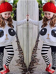 cheap -Toddler Girls' Cartoon Animal Print Print Long Sleeve Regular Clothing Set White