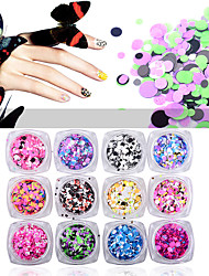 cheap -12pcs colorful round ultrathin sequins nail art glitters mix sizes charm nail art decoration