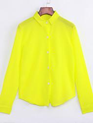 cheap -Women's Daily Shirt - Solid Colored Shirt Collar Yellow / Fall