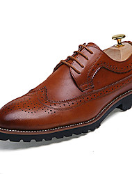cheap -Men's Brogue Leather Spring / Fall Oxfords Black / Brown / Red / Wedding / Party & Evening / Lace-up / Party & Evening / Leather Shoes