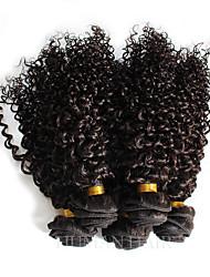 Недорогие -3 Связки Бразильские волосы Кудрявый Классика Натуральные волосы 100 g Человека ткет Волосы Ткет человеческих волос Расширения человеческих волос / 8A