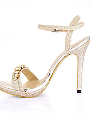 cheap -Women's Sandals Stiletto Heel Open Toe Rhinestone Faux Leather Comfort Summer Gold / Silver / Wedding / Party & Evening / Party & Evening