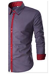 cheap -Men's Daily Cotton Shirt - Color Block White / Long Sleeve