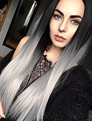 cheap -Synthetic Wig Straight Straight Wig Long Grey Synthetic Hair Women's Ombre Hair Dark Roots Middle Part Gray StrongBeauty