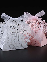 cheap -Round / Square Pearl Paper Favor Holder with Ribbons / Printing Favor Boxes - 50