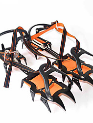 cheap -Traction Cleats Crampons Spikes Professional Adjustable Anti-skidding 12 Teeth Stainless Steel Nylon Hiking Climbing Camping Outdoor Walking Orange / Black 2 pcs