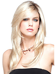 cheap -Synthetic Wig Wavy Wavy Layered Haircut With Bangs Wig Blonde Medium Length Blonde Synthetic Hair Women's Heat Resistant Dark Roots Side Part Blonde