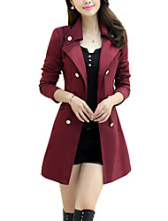 cheap -Women's Daily / Work Simple / Casual Spring / Fall Regular Trench Coat, Solid Colored Peter Pan Collar Long Sleeve Polyester Wine / Khaki / Royal Blue