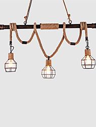 Недорогие -3-х металлическая клетка деревенский металлический водопровод конопляная веревка подвеска свет гостиная столовая люстра