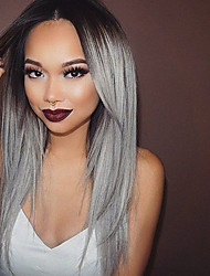 cheap -heat resistant synthetic lace front wig straight hair ombre t1b grey color synthetic fiber hair wigs