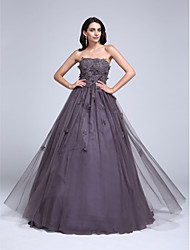 cheap -Ball Gown Floral Grey Quinceanera Formal Evening Dress Strapless Sleeveless Floor Length Tulle with Beading Appliques 2020