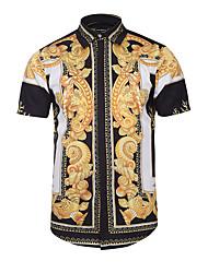cheap -Men's Daily Going out Vintage / Boho Slim Shirt - Tribal Print Classic Collar Black / Short Sleeve / Summer