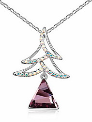 cheap -Crystal Pendant Necklace Single Strand Basic Alloy Gold Purple Light Blue Necklace Jewelry For Daily Casual