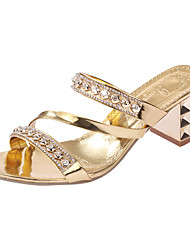 cheap -Women's Heels Crystal Sandals Low Heel Rivet PU(Polyurethane) Comfort Spring / Summer Gold / Silver / EU40
