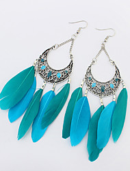 cheap -Women's Drop Earrings Chandelier Ladies European Fashion Native American Feather Earrings Jewelry Green / Rainbow / Khaki For Party