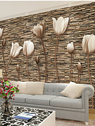 Недорогие -Большой 3D стерео обои росписи простой цветок каменная стена гостиная гостиная спальня телевизор фоне wallcoving448 × 280 см