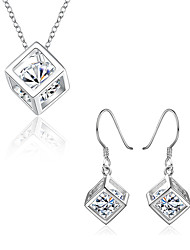 cheap -Women's Diamond Cubic Zirconia Jewelry Set Ladies Small Cubic Zirconia Silver Plated Earrings Jewelry Silver For Wedding Party Daily Masquerade Engagement Party Prom