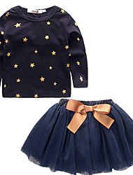 cheap -Toddler Girls' Casual Active Nature Vintage Stars Long Sleeve Regular Regular Cotton Clothing Set Blue / Cute